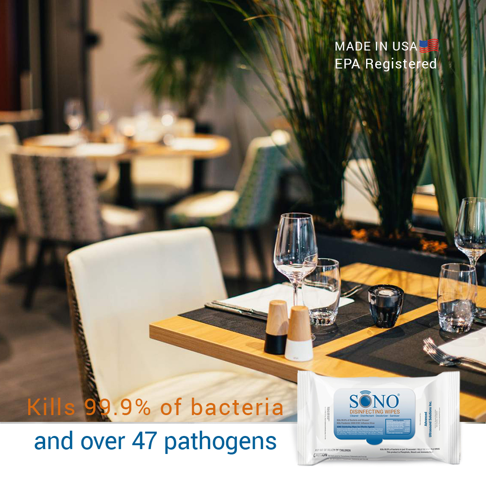 restaurant seats disinfecting wipes by SONO