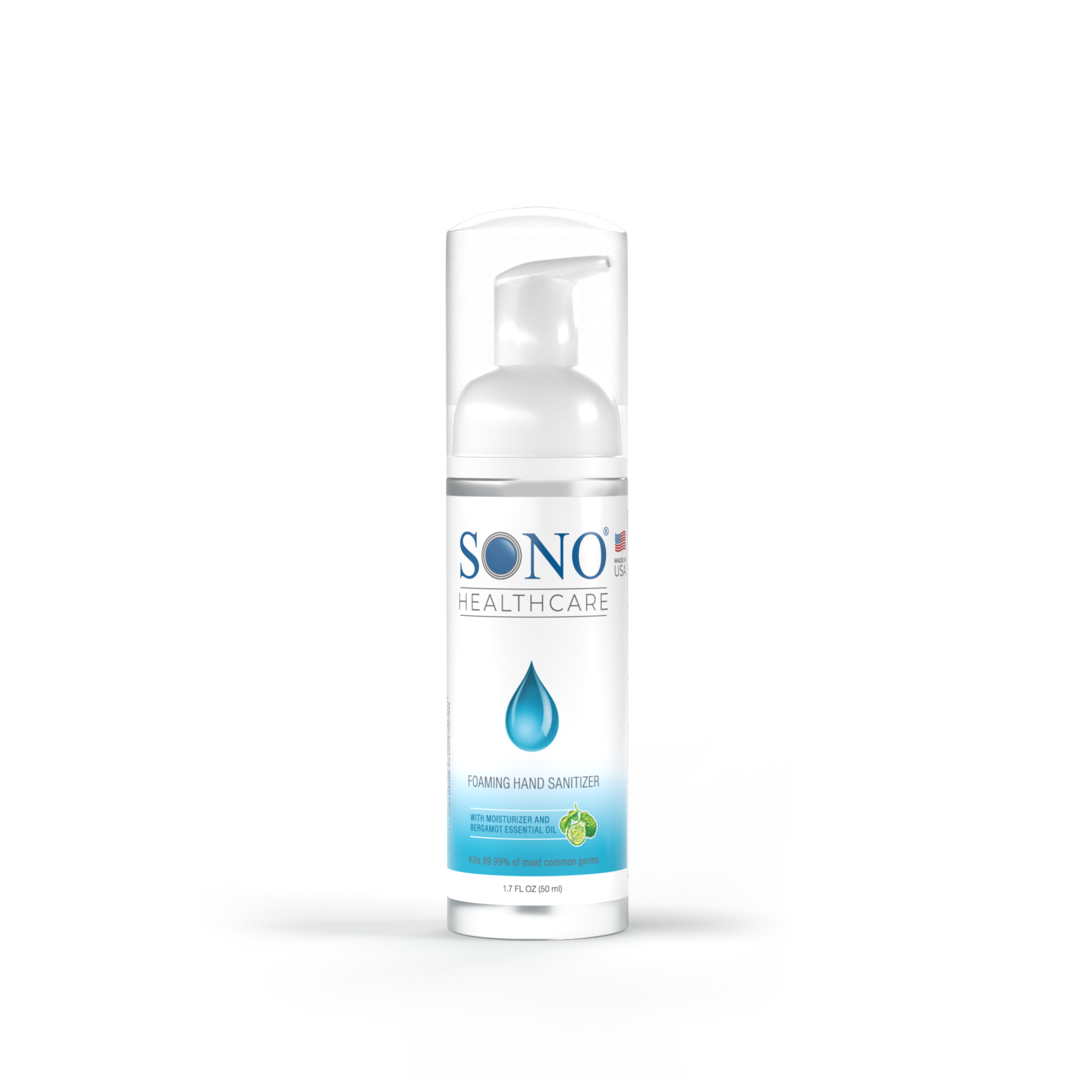 SONO Healthcare's 1.7 fl. oz. Foaming Hand Sanitizer based on Benzalkonium Chloride, which is a chemical that has been proven to be effective against COVID by Brigham Young University